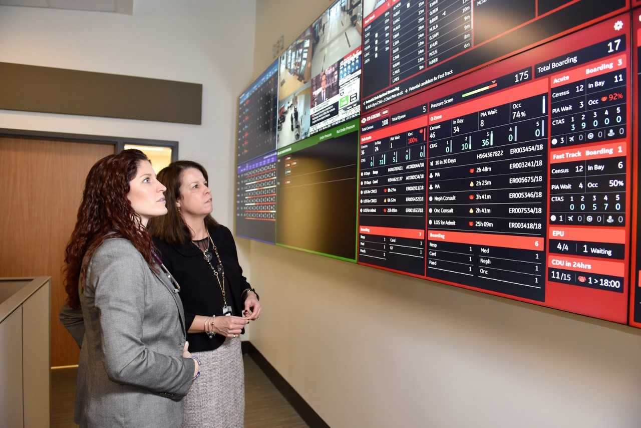 (Left to right) Susan Tory, MD, Command Center Medical Director, and Jane Casey, Command Centre Director, observe live tiles at the HRH command center. Courtesy of GE Healthcare.